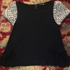 Anthropologie black and leopard sweater top